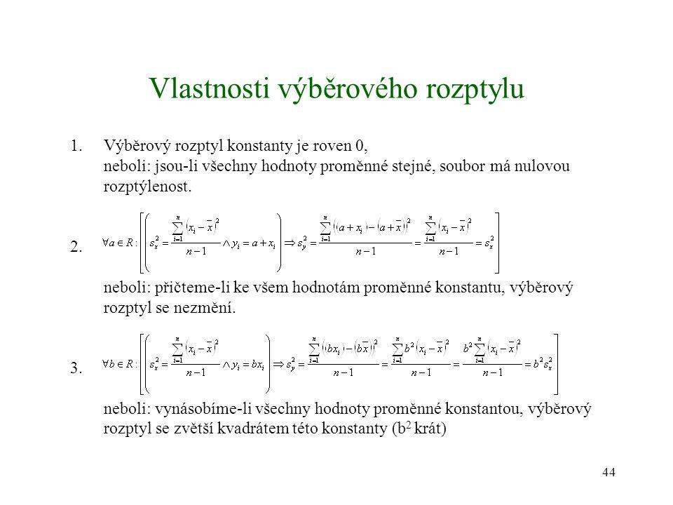 44 Vlastnosti výběrového rozptylu 1.Výběrový rozptyl konstanty je roven 0, neboli: jsou-li všechny hodnoty proměnné stejné, soubor má nulovou rozptýle