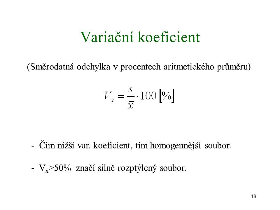 48 Variační koeficient (Směrodatná odchylka v procentech aritmetického průměru) - Čím nižší var. koeficient, tím homogennější soubor. - V x >50% značí