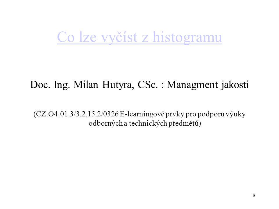 Co lze vyčíst z histogramu Doc. Ing. Milan Hutyra, CSc. : Managment jakosti (CZ.O4.01.3/3.2.15.2/0326 E-learningové prvky pro podporu výuky odborných