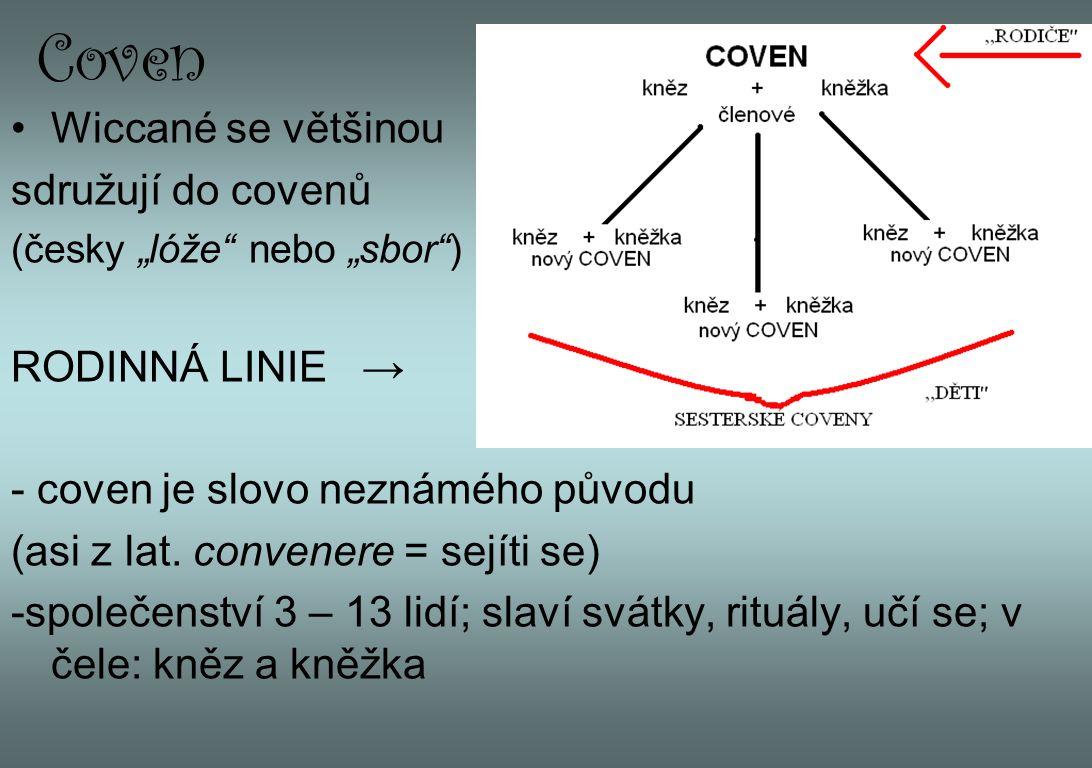 """Coven Wiccané se většinou sdružují do covenů (česky """"lóže"""" nebo """"sbor"""") RODINNÁ LINIE → - coven je slovo neznámého původu (asi z lat. convenere = sejí"""
