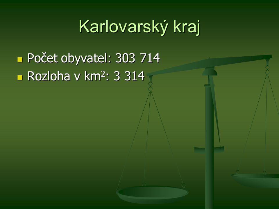 Karlovarský kraj Počet obyvatel: 303 714 Počet obyvatel: 303 714 Rozloha v km 2 : 3 314 Rozloha v km 2 : 3 314