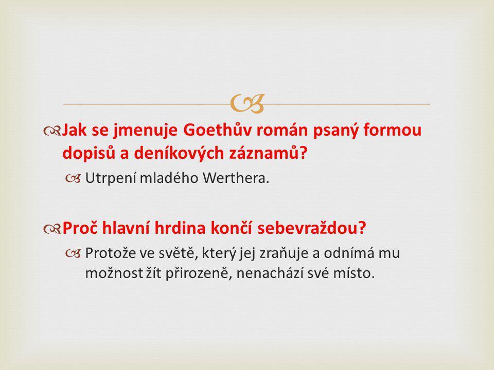   Jak se jmenuje Goethův román psaný formou dopisů a deníkových záznamů.