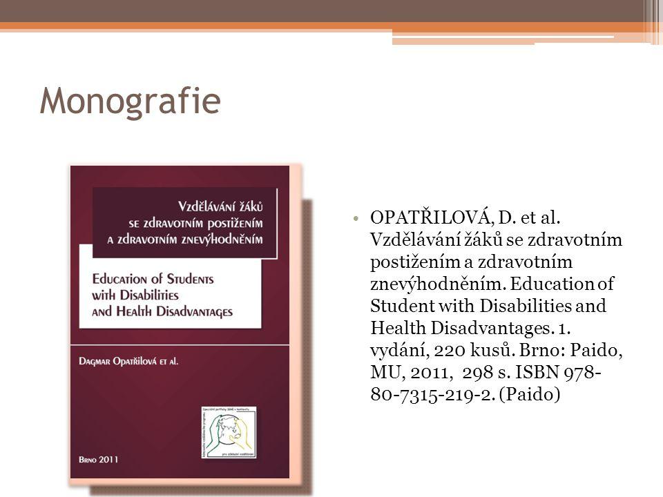 Monografie OPATŘILOVÁ, D.et al.