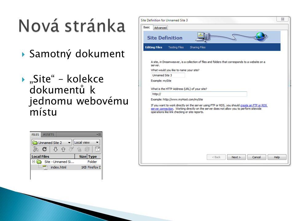 """ Samotný dokument  """"Site"""" – kolekce dokumentů k jednomu webovému místu"""