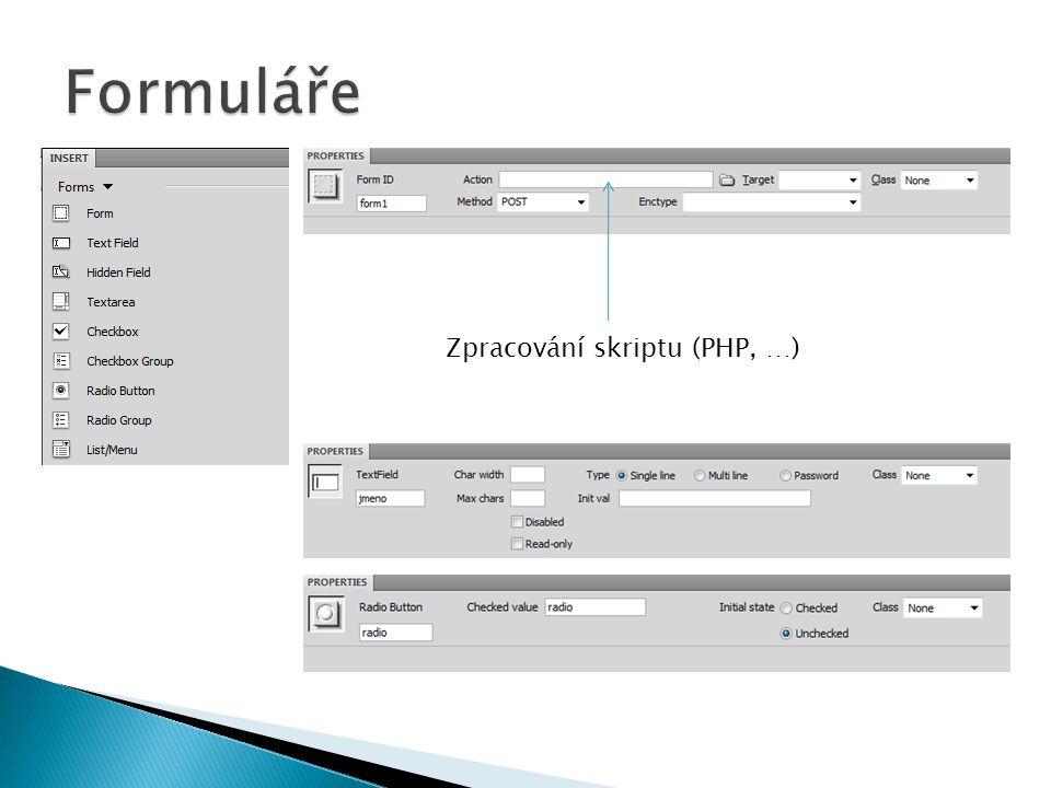 Zpracování skriptu (PHP, …)