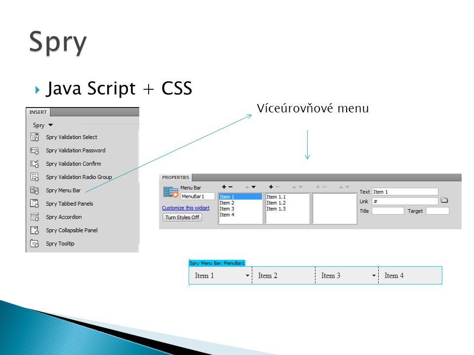  Java Script + CSS Víceúrovňové menu