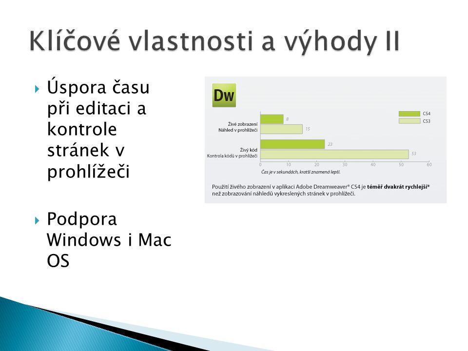  Úspora času při editaci a kontrole stránek v prohlížeči  Podpora Windows i Mac OS