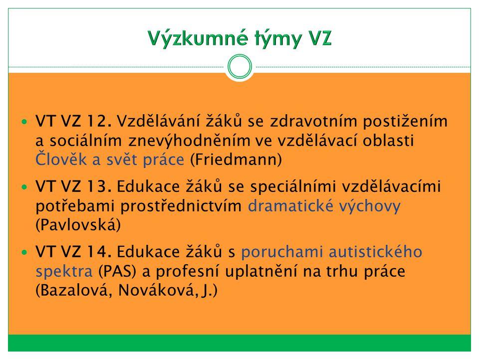 VT VZ 12. Vzdělávání žáků se zdravotním postižením a sociálním znevýhodněním ve vzdělávací oblasti Člověk a svět práce (Friedmann) VT VZ 13. Edukace ž