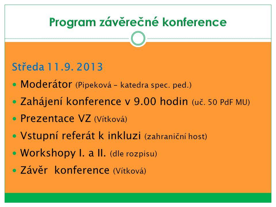 Středa 11.9. 2013 Moderátor (Pipeková - katedra spec. ped.) Zahájení konference v 9.00 hodin (uč. 50 PdF MU) Prezentace VZ (Vítková) Vstupní referát k