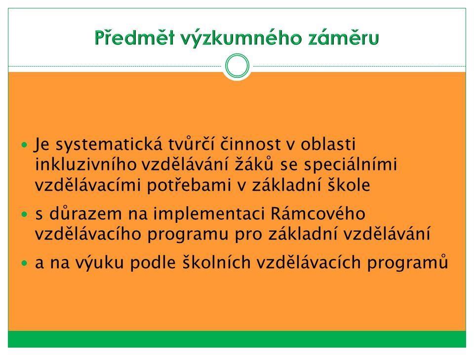 Je systematická tvůrčí činnost v oblasti inkluzivního vzdělávání žáků se speciálními vzdělávacími potřebami v základní škole s důrazem na implementaci