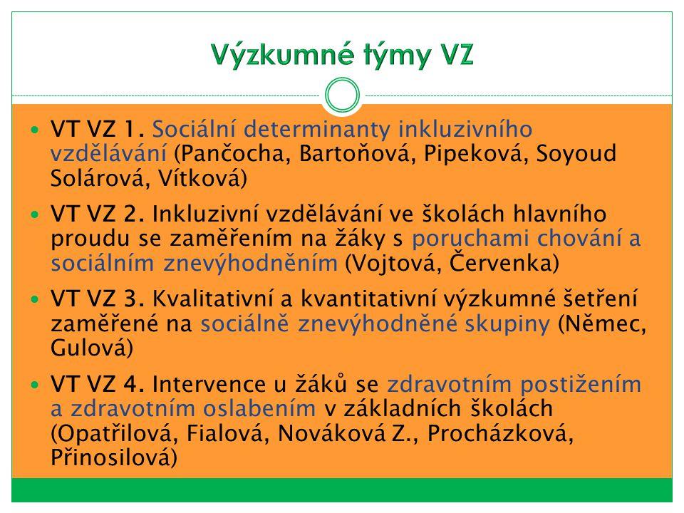 VT VZ 1. Sociální determinanty inkluzivního vzdělávání (Pančocha, Bartoňová, Pipeková, Soyoud Solárová, Vítková) VT VZ 2. Inkluzivní vzdělávání ve ško