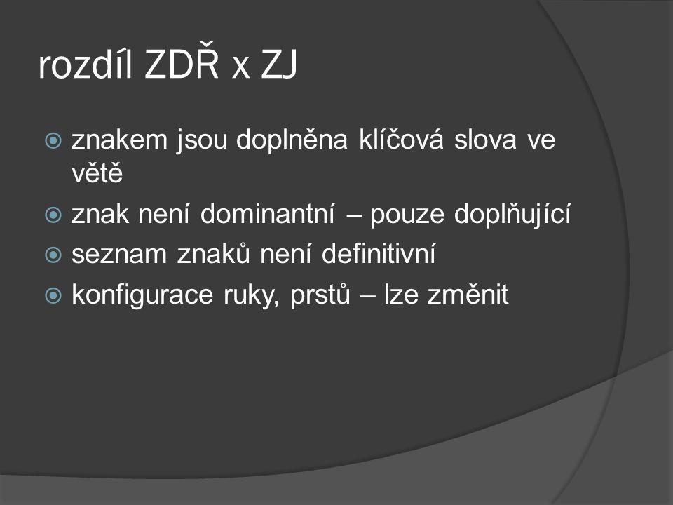 rozdíl ZDŘ x ZJ  znakem jsou doplněna klíčová slova ve větě  znak není dominantní – pouze doplňující  seznam znaků není definitivní  konfigurace r