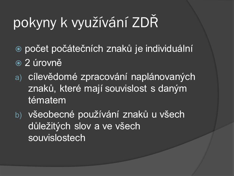 pokyny k využívání ZDŘ  počet počátečních znaků je individuální  2 úrovně a) cílevědomé zpracování naplánovaných znaků, které mají souvislost s daný