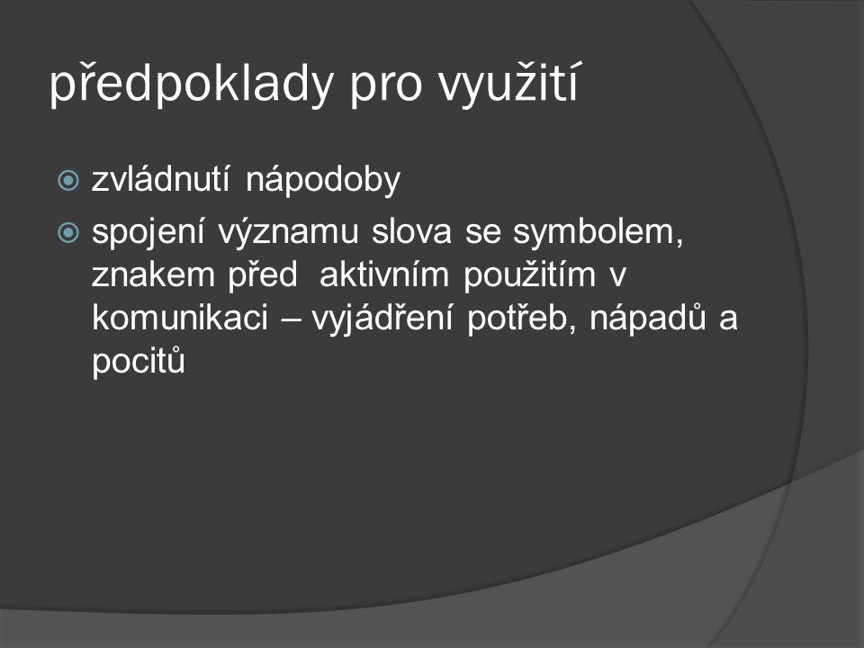 předpoklady pro využití  zvládnutí nápodoby  spojení významu slova se symbolem, znakem před aktivním použitím v komunikaci – vyjádření potřeb, nápad