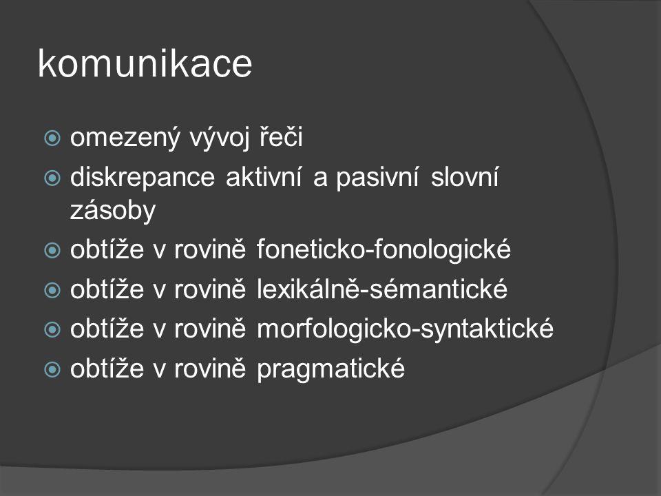 komunikace  omezený vývoj řeči  diskrepance aktivní a pasivní slovní zásoby  obtíže v rovině foneticko-fonologické  obtíže v rovině lexikálně-séma