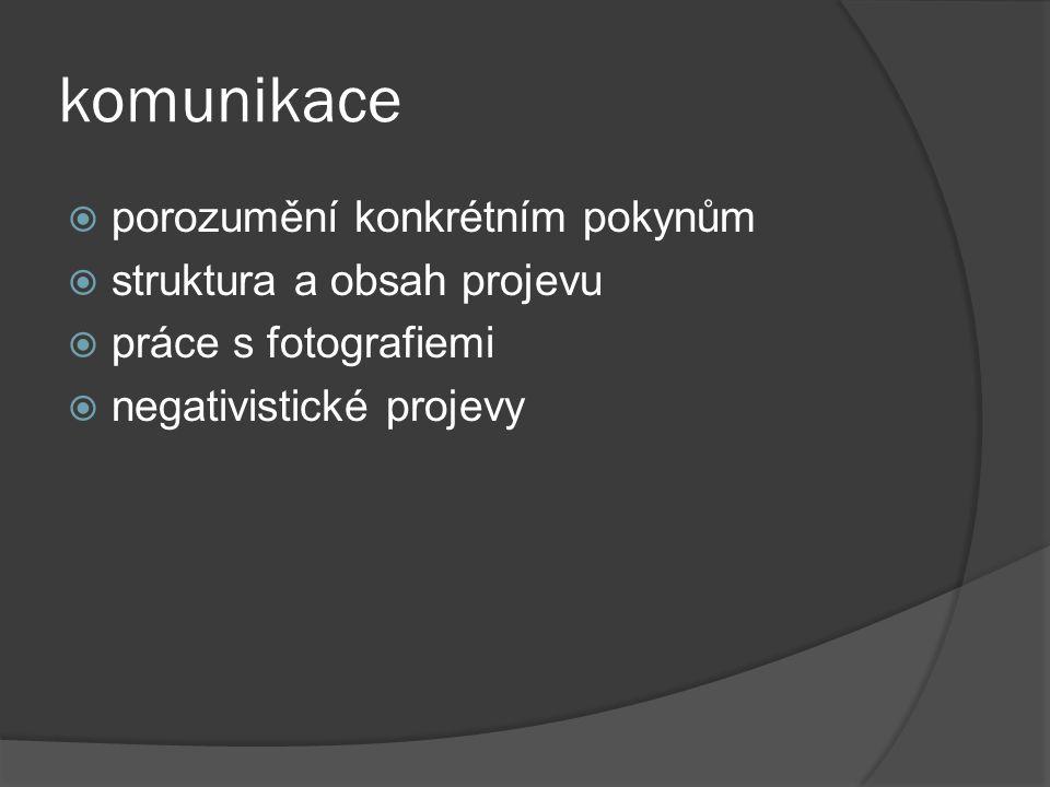 komunikace  porozumění konkrétním pokynům  struktura a obsah projevu  práce s fotografiemi  negativistické projevy