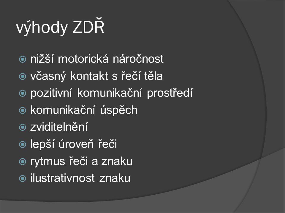 rozdíl ZDŘ x ZJ  znakem jsou doplněna klíčová slova ve větě  znak není dominantní – pouze doplňující  seznam znaků není definitivní  konfigurace ruky, prstů – lze změnit