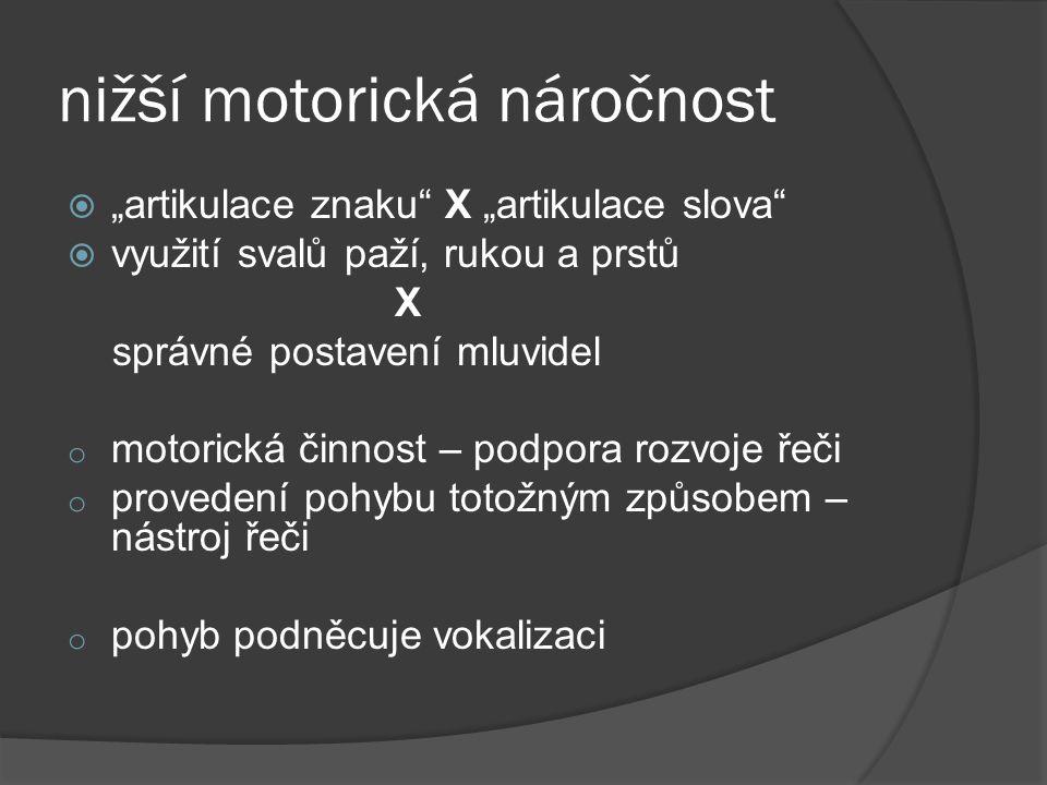 """nižší motorická náročnost  """"artikulace znaku"""" X """"artikulace slova""""  využití svalů paží, rukou a prstů X správné postavení mluvidel o motorická činno"""