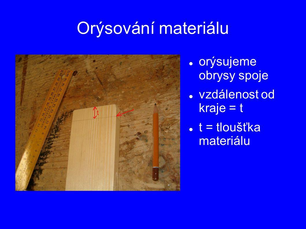 Orýsování materiálu orýsujeme obrysy spoje vzdálenost od kraje = t t = tloušťka materiálu