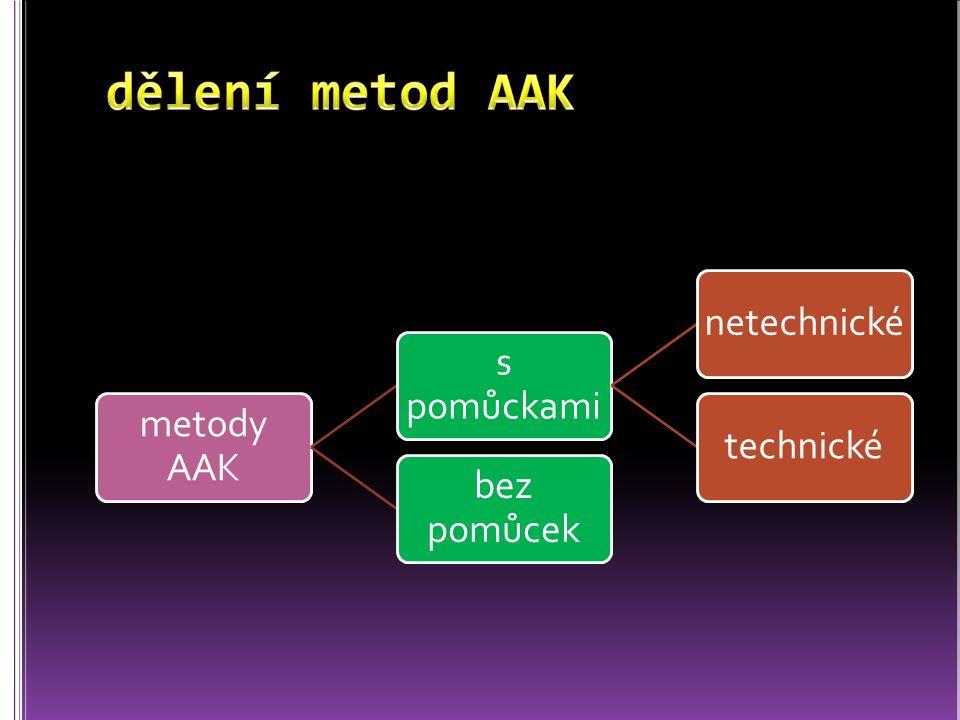 metody AAK s pomůckami netechnickétechnické bez pomůcek