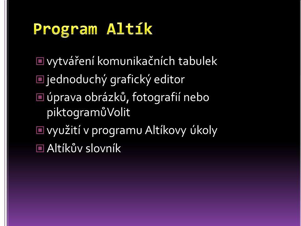 vytváření komunikačních tabulek jednoduchý grafický editor úprava obrázků, fotografií nebo piktogramůVolit využití v programu Altíkovy úkoly Altíkův s