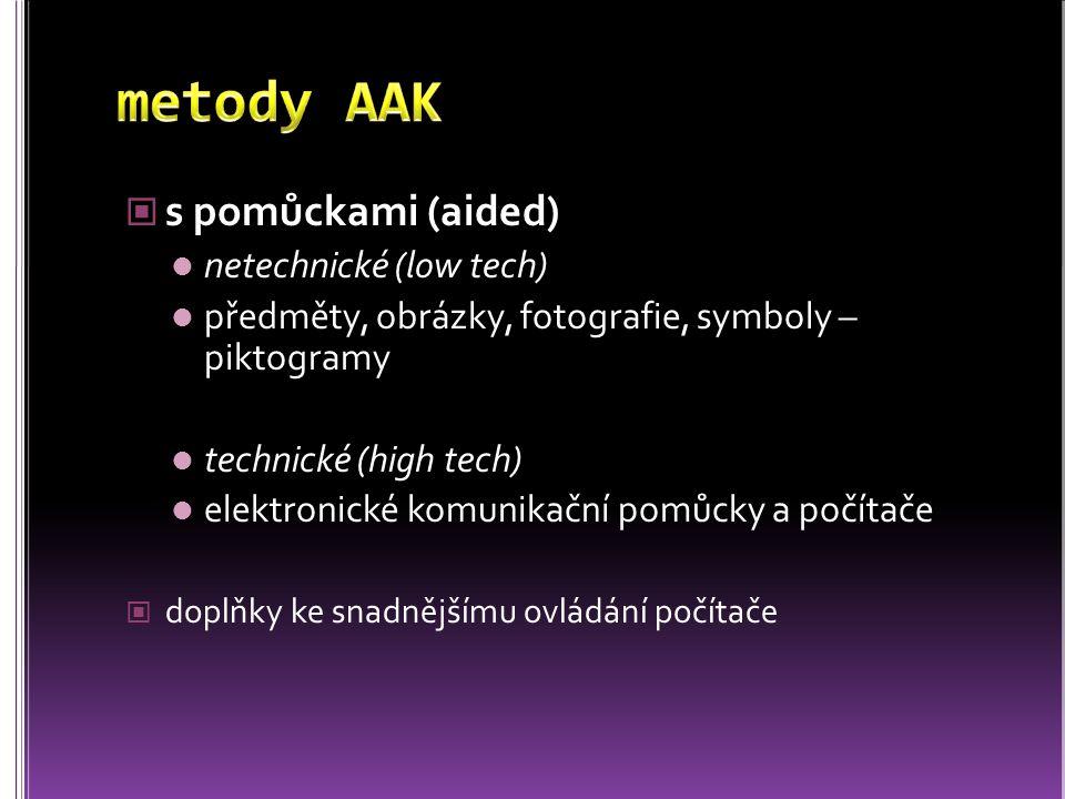s pomůckami (aided) netechnické (low tech) předměty, obrázky, fotografie, symboly – piktogramy technické (high tech) elektronické komunikační pomůcky