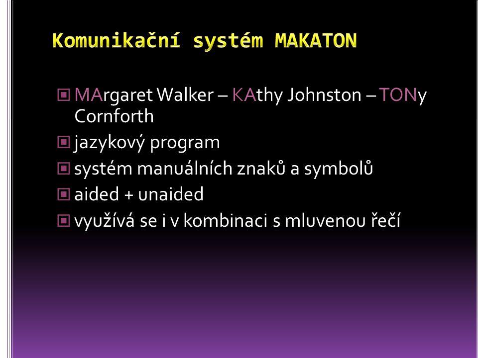 MArgaret Walker – KAthy Johnston – TONy Cornforth jazykový program systém manuálních znaků a symbolů aided + unaided využívá se i v kombinaci s mluven