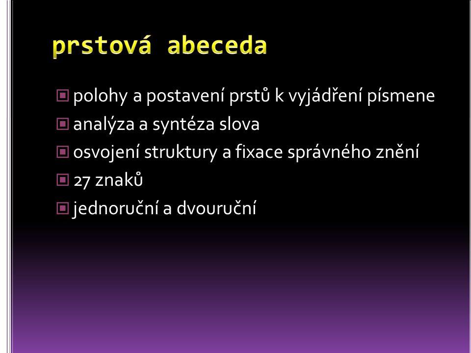 polohy a postavení prstů k vyjádření písmene analýza a syntéza slova osvojení struktury a fixace správného znění 27 znaků jednoruční a dvouruční