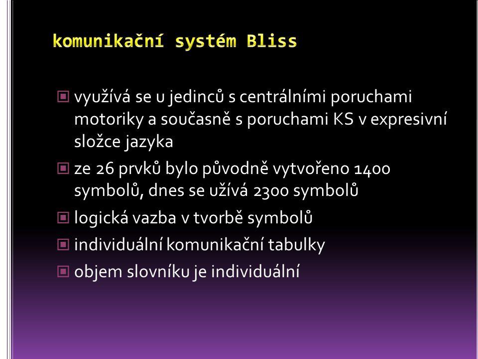 využívá se u jedinců s centrálními poruchami motoriky a současně s poruchami KS v expresivní složce jazyka ze 26 prvků bylo původně vytvořeno 1400 sym