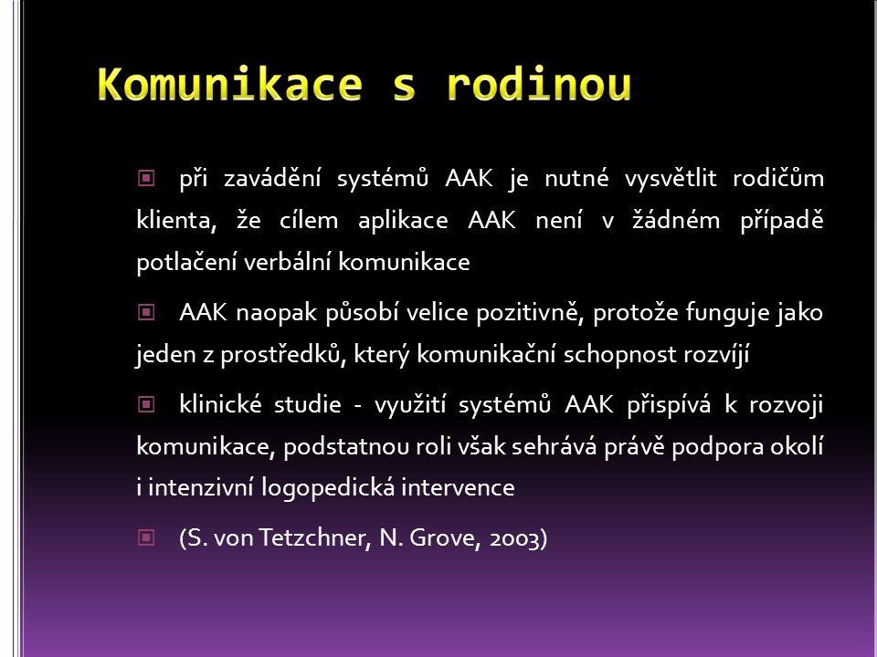 při zavádění systémů AAK je nutné vysvětlit rodičům klienta, že cílem aplikace AAK není v žádném případě potlačení verbální komunikace AAK naopak půso