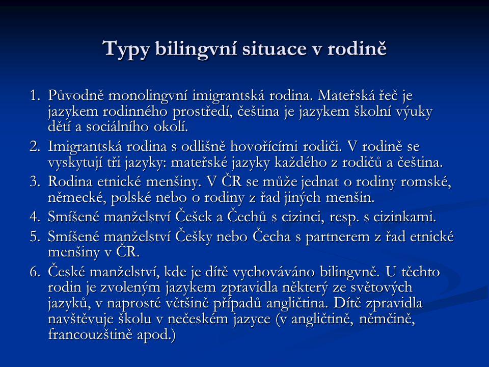 Typy bilingvní situace v rodině 1.Původně monolingvní imigrantská rodina. Mateřská řeč je jazykem rodinného prostředí, čeština je jazykem školní výuky