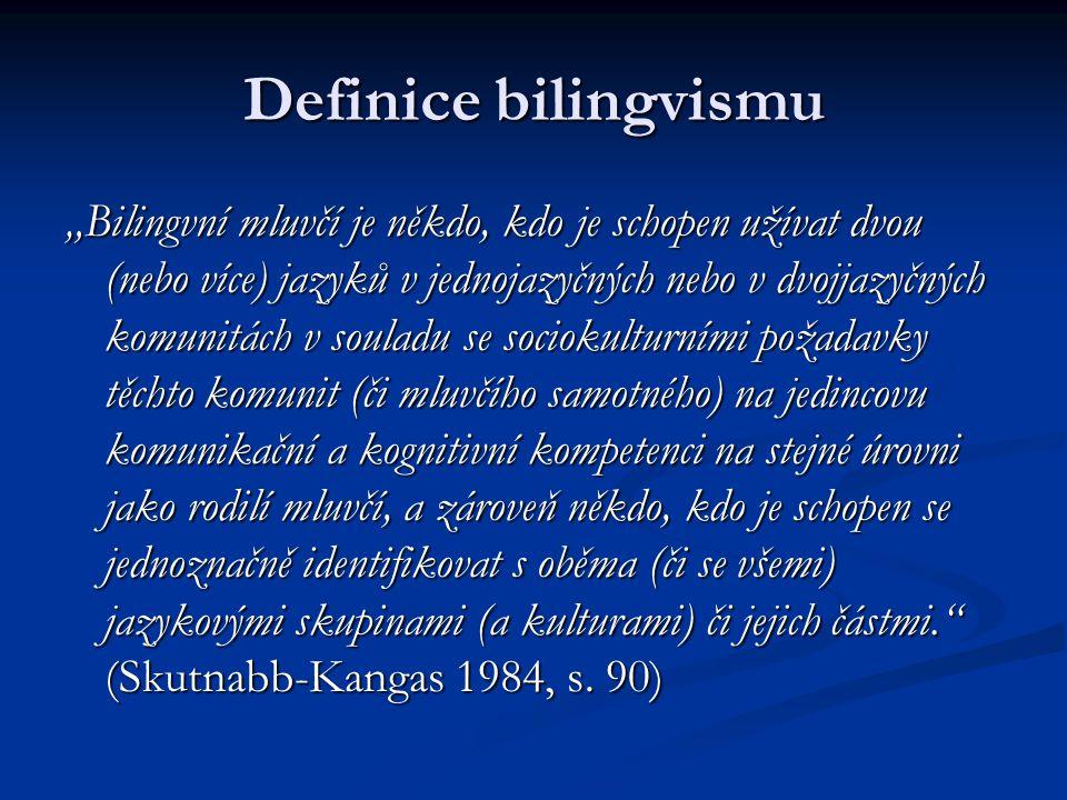 Kategorie bilingvizmu: raný – pozdní raný – pozdní simultánní - konsekutivní (sukcesívní) simultánní - konsekutivní (sukcesívní) aktivní (produktivní) - pasivní (receptivní) aktivní (produktivní) - pasivní (receptivní) vyrovnaný (balancovaný) – dominantní vyrovnaný (balancovaný) – dominantní ekvilingvismus - semilingvismus ekvilingvismus - semilingvismus aditivní – subtraktivní aditivní – subtraktivní vzestupný - klesající vzestupný - klesající elitistický – lidový elitistický – lidový elektivní - příležitostný elektivní - příležitostný kompozitní - koordinovaný kompozitní - koordinovaný