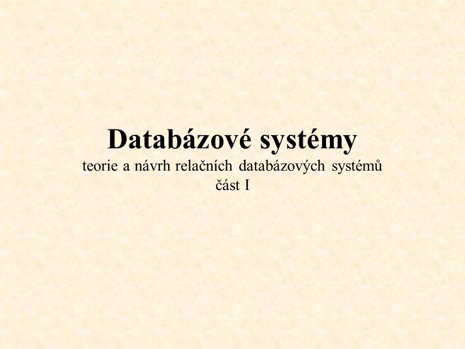 Základní rozlišení bází dat Nestrukturované a částečně strukturované báze dat souborové báze dat orientované na FS, firemní elektronická agenda v různých podobách (dokumenty, tabulky, číselná data) Nerelační báze dat a přechodné formy historické souborové databáze (DBase IV) tabulkově orientované databáze se zárodky relačního přístupu FoxPro 5, Paradox) Relační databázové systémy Oracle, MSSQL Server, MS Access Objektově orientované báze dat XML (….) Objektový databázový koncept (ODC) implementace ODC v současných relačních systémech využití v komunikacích (Queuing)