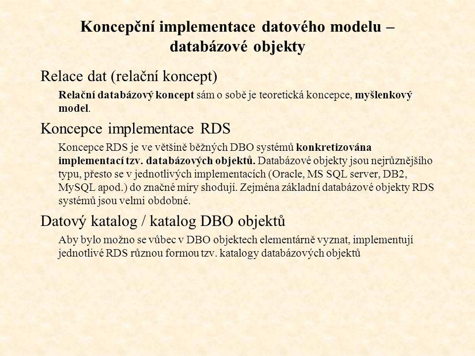 Koncepční implementace datového modelu – databázové objekty Relace dat (relační koncept) Relační databázový koncept sám o sobě je teoretická koncepce, myšlenkový model.