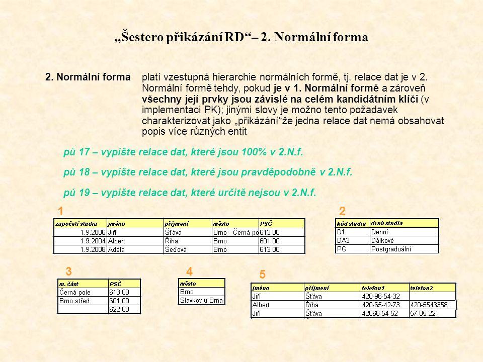 """""""Šestero přikázání RD – 2.Normální forma 2."""