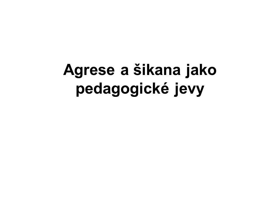 Agrese a šikana jako pedagogické jevy