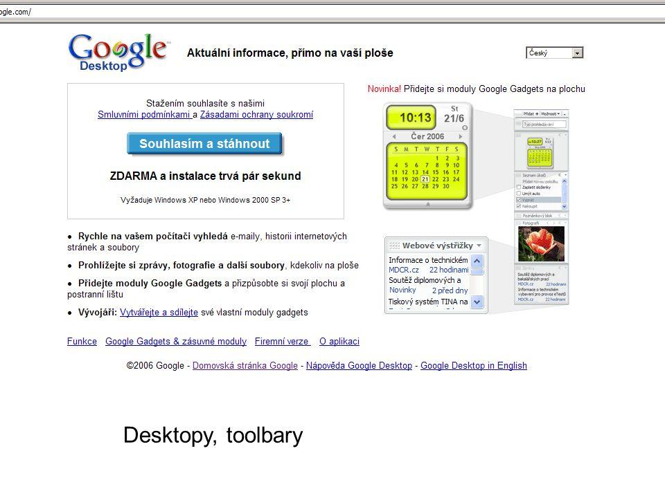 Desktopy, toolbary
