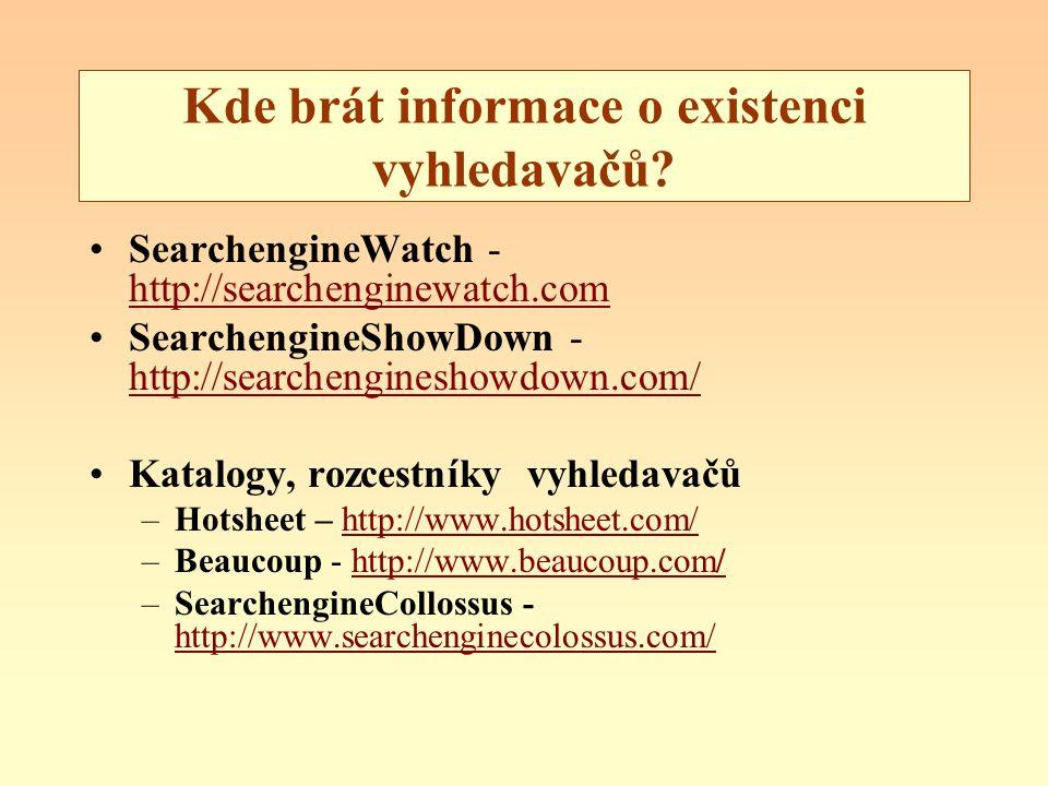 Kde brát informace o existenci vyhledavačů? SearchengineWatch - http://searchenginewatch.com http://searchenginewatch.com SearchengineShowDown - http:
