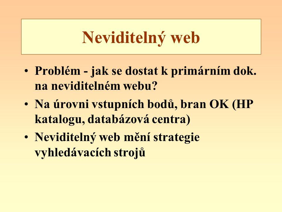 Neviditelný web Problém - jak se dostat k primárním dok. na neviditelném webu? Na úrovni vstupních bodů, bran OK (HP katalogu, databázová centra) Nevi