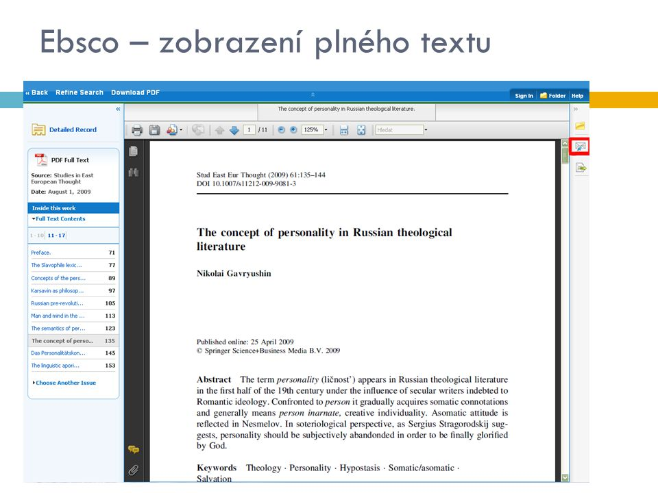 Ebsco – zobrazení plného textu