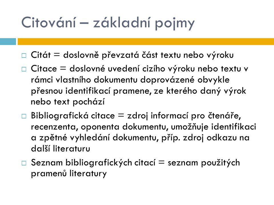 Citování – základní pojmy  Citát = doslovně převzatá část textu nebo výroku  Citace = doslovné uvedení cizího výroku nebo textu v rámci vlastního do