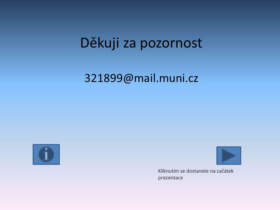 Děkuji za pozornost 321899@mail.muni.cz Kliknutím se dostanete na začátek prezentace