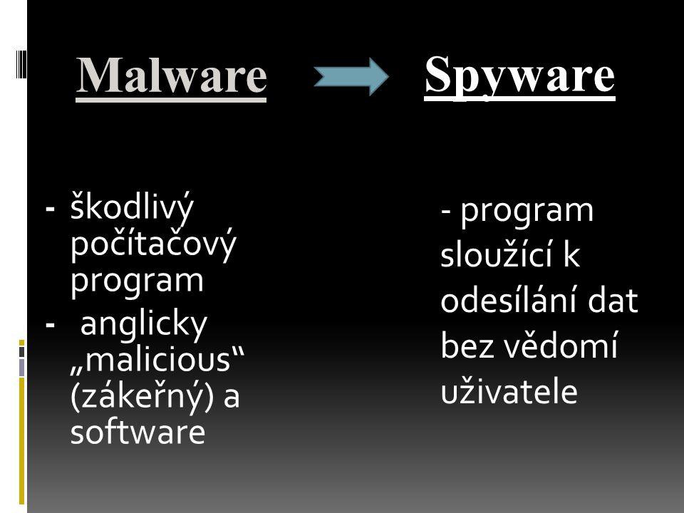 """Malware -škodlivý počítačový program - anglicky """"malicious"""" (zákeřný) a software Spyware - program sloužící k odesílání dat bez vědomí uživatele"""