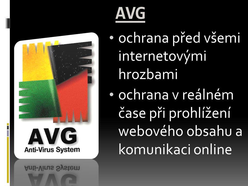AVG ochrana před všemi internetovými hrozbami ochrana v reálném čase při prohlížení webového obsahu a komunikaci online