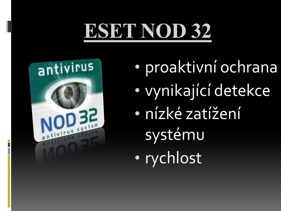 ESET NOD 32 proaktivní ochrana vynikající detekce nízké zatížení systému rychlost