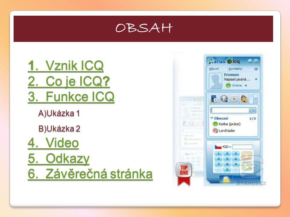 1.Vznik ICQ 2. Co je ICQ. 3. Funkce ICQ 1. Vznik ICQ 2.