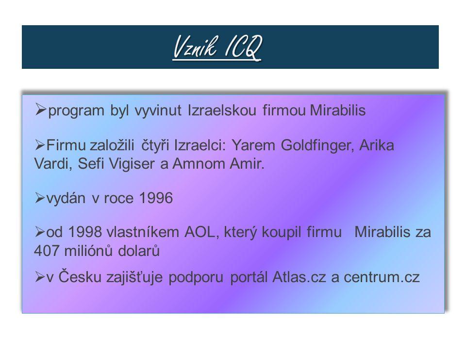 Vznik ICQ Vznik ICQ  program byl vyvinut Izraelskou firmou Mirabilis  Firmu založili čtyři Izraelci: Yarem Goldfinger, Arika Vardi, Sefi Vigiser a Amnom Amir.