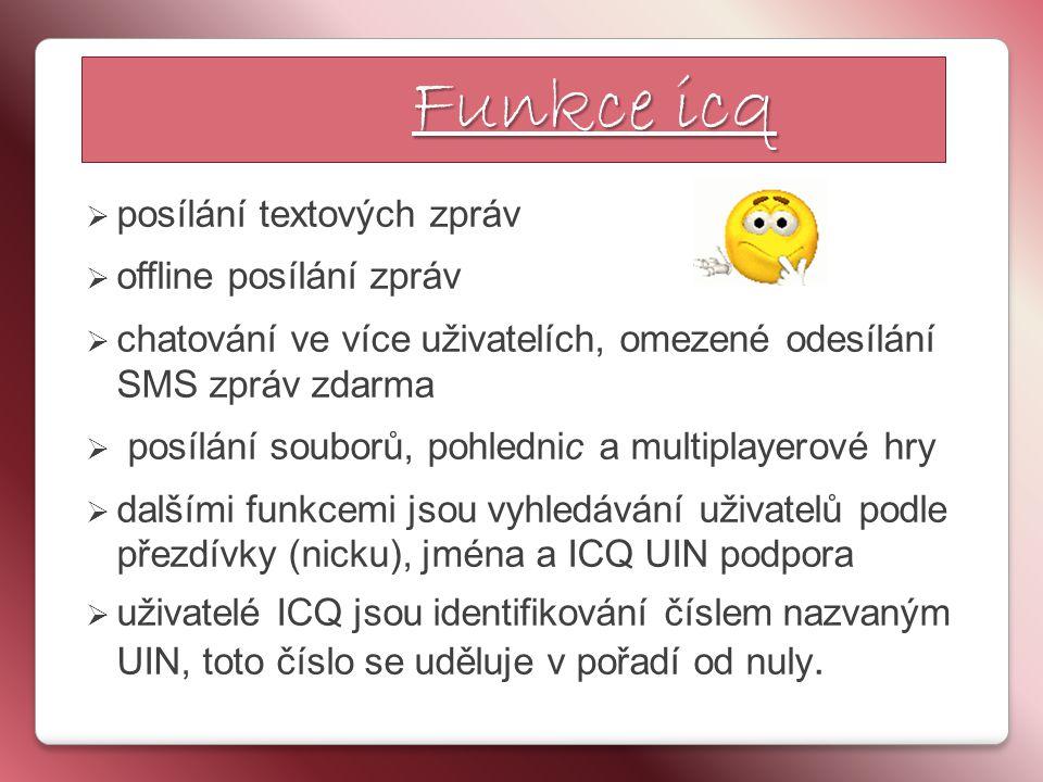  posílání textových zpráv  offline posílání zpráv  chatování ve více uživatelích, omezené odesílání SMS zpráv zdarma  posílání souborů, pohlednic a multiplayerové hry  dalšími funkcemi jsou vyhledávání uživatelů podle přezdívky (nicku), jména a ICQ UIN podpora  uživatelé ICQ jsou identifikování číslem nazvaným UIN, toto číslo se uděluje v pořadí od nuly.