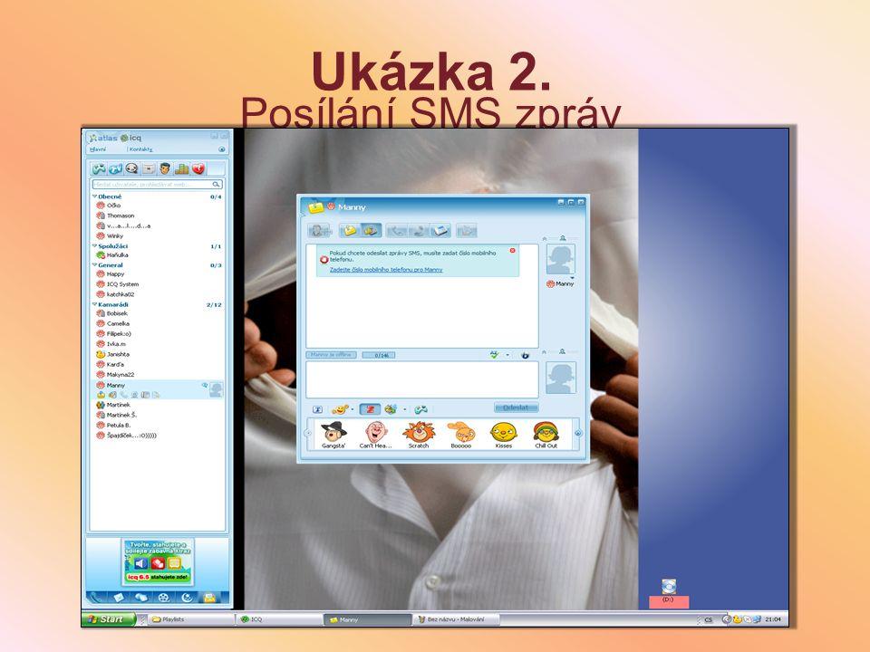 Ukázka 1. Posílání zpráv online