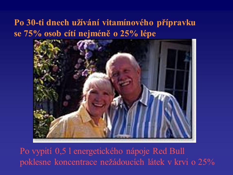 Po 30-ti dnech užívání vitamínového přípravku se 75% osob cítí nejméně o 25% lépe Po vypití 0,5 l energetického nápoje Red Bull poklesne koncentrace nežádoucích látek v krvi o 25%